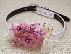 Dusty Pink Wedding Floral Dog Collar, Burlap White Dusty Pink Flowers Rhinestones