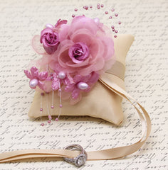 Dusty Pink Ring Pillow attach to dog Collar, Dusty Pink Champagne Wedding, Pet Wedding