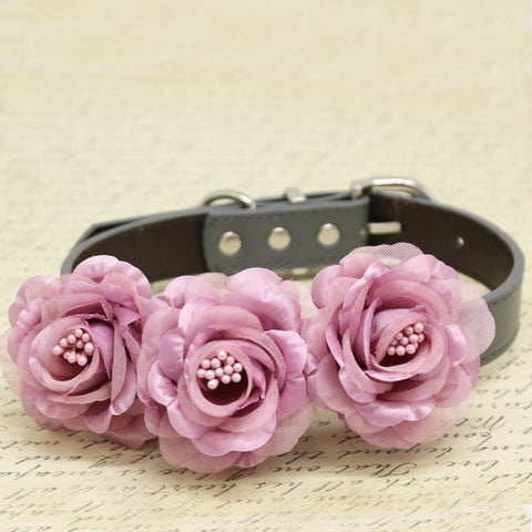 Dusty Pink Floral Dog Collar, Wedding Pet Accessory, Rose Flowers with Pearls