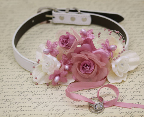 Floral Dusty Pink Ring Bearer Wedding Dog Collar, Burlap wedding, Dusty Pink Pearls , Wedding dog collar