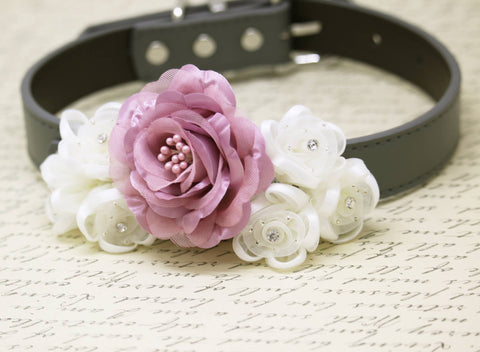 Dusty Pink Floral Collar, Pet wedding accessory, Dusty Pink Flowers with Rhinestones