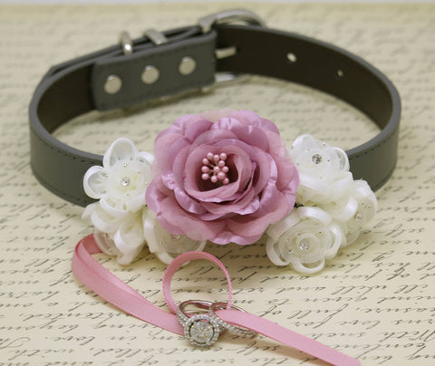 Dusty Pink Ring Bearer Dog Collar, Pet wedding Ring Bearer, Dusty Pink Flowers , Wedding dog collar