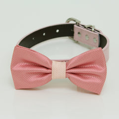 Dusty Rose blush Dog Bow Tie Collar, Gray, Brown, black, Ivory, Champagne leather dog collar, dog of honor, Dusty Rose bow tie