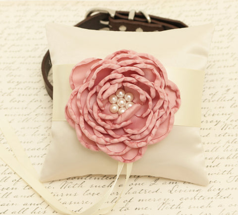 Dusty Pink Ring Pillow attached to Dog collar, Dog ring bearer