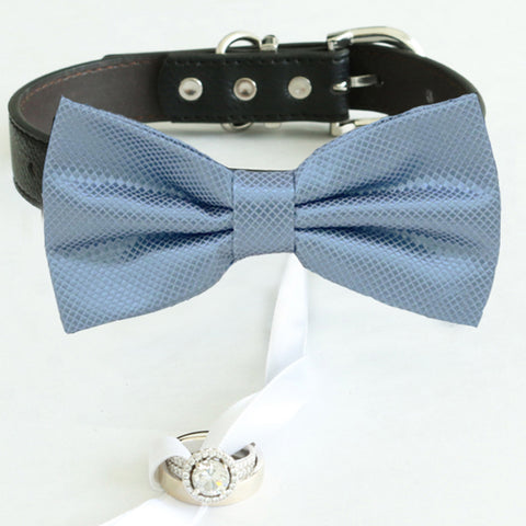 Dusty blue bow tie collar Leather collar dog of honor ring bearer adjustable handmade XS to XXL collar bow, Puppy, Proposal