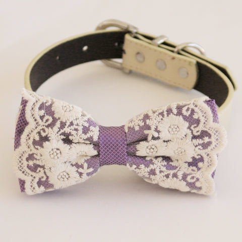 Handmade Dusty lavender bow tie collar Leather collar dog of honor ring bearer adjustable handmade M to XXL collar bow, Proposal , Wedding dog collar
