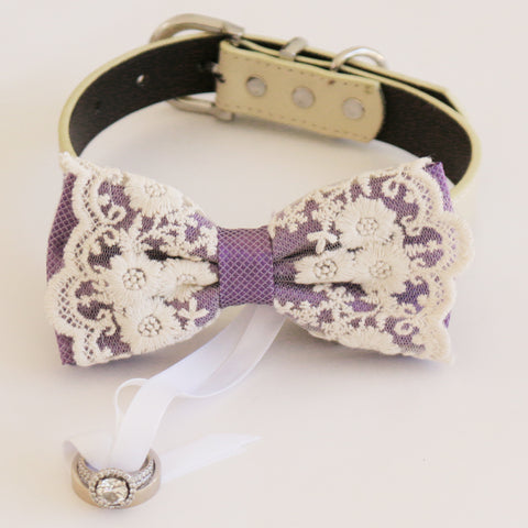 Dusty lavender lace bow tie collar Leather collar dog of honor ring bearer adjustable handmade M to XXL collar bow, Proposal