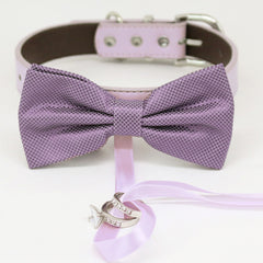 Dusty lavender bow tie collar Leather collar dog of honor ring bearer adjustable handmade XS to XXL collar bow, Puppy, Proposal