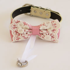handmade dusty rose bow tie collar Leather collar dog of honor ring bearer adjustable handmade M to XXL collar bow, Proposal
