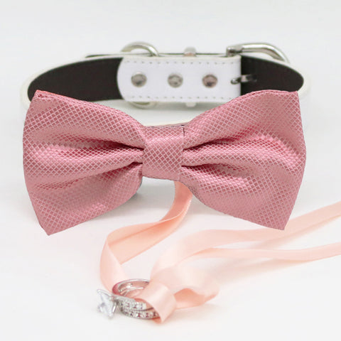 Dusty rose bow tie collar Leather collar dog of honor ring bearer adjustable handmade XS to XXL collar bow, Puppy, Proposal