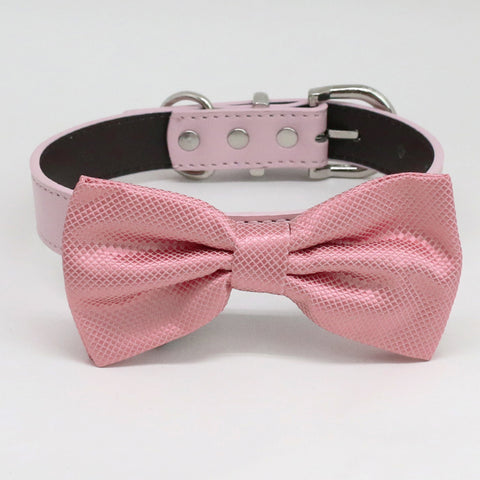 Dusty Rose bow tie collar XS to XXL collar and bow tie, adjustable, Puppy bow tie, handmade, dog of honor ring bearer
