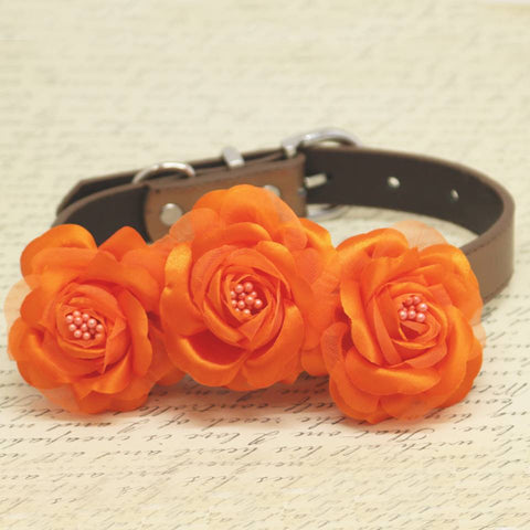 Flame Orange floral Dog Collar, Wedding Pet Accessory, Rose Flowers with Pearls