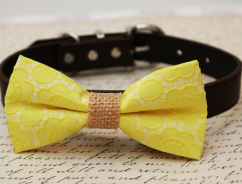 Floral Yellow Dog Bow Tie attached to collar, wedding accessory, beach wedding