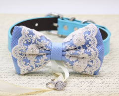 French Blue Lace Bow Tie Dog ring bearer collar, French blue Wedding, Vintage