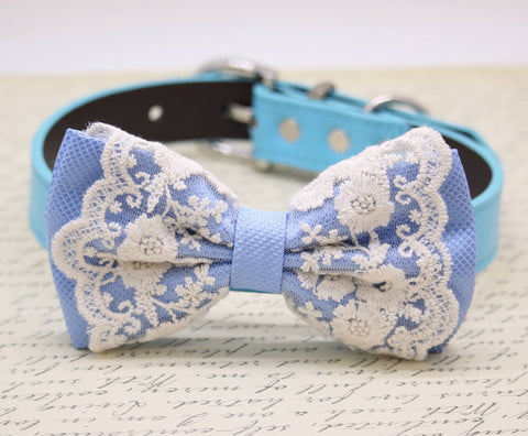 French Blue Lace Dog Bow Tie Collar, Blue Lace French Wedding