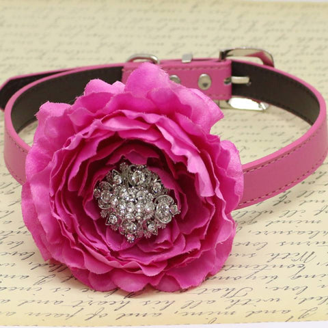 Fuchsia Floral Dog Collar, Pet Wedding, Rhinestone, Peony Flower, Puppy Love