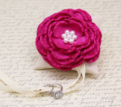 Fuchsia Dog Ring Bearer attach to Collar, Fuchsia wedding, Floral wedding ideas