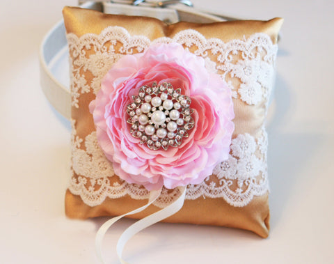 Gold and Pink Dog ring bearer pillow, Gold Wedding, Ring Pillow attach to dog Collar
