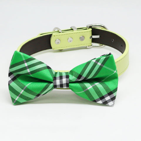 Plaid Burly wood bow tie attached to collar, Green bow tie Wedding pet collar