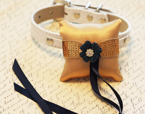 Gold blue Ring Pillow for dogs, Cute Chic ring pillow -Pillow attach to the High quality Leather Collar, Ring Bearer Pillow