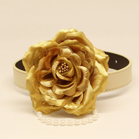 Gold Floral dog collar, Rose, Gold Rose