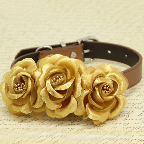 Gold Floral Dog Collar, Wedding Pet Accessory, Rose Flowers with Pearls