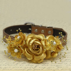 Gold Floral Dog collar, Pet Wedding, Handmade Gifts, Rose Flowers with Pearls , Wedding dog collar