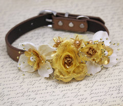 Gold Burlap Wedding Dog Collar, Gold Ivory wedding, Burlap Wedding Ideas