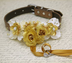 Gold Ring Bearer Wedding Dog Collar, Gold Ivory wedding, Burlap Proposal Ideas , Wedding dog collar