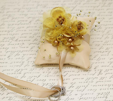 Champagne Ring Pillow with gold flowers attach to dog Collar, Gold Wedding