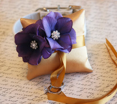 Gold and Purple Ring Pillow, Dog Ring Bearer, Pillow attach to white Leather Collar, Gold and Purple wedding, Pet wedding accessory - LA Dog Store  - 1