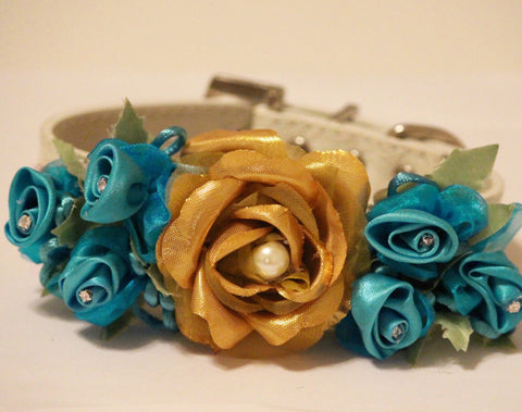 Gold Floral Dog Collar, Gold and Aqua Blue Flower Pet Wedding, Beach wedding , Wedding dog collar