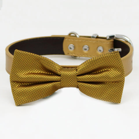 Gold bow tie collar XS to XXL collar and bow tie, adjustable, Puppy bow tie, handmade, dog of honor ring bearer