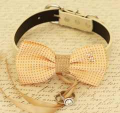 Dog Bow Tie collar,  Dog ring bearer, Pet Wedding accessory, Charm, Heart, Burlap, Golden haze, Dog Lovers, Proposal, Wedding, Gift - LA Dog Store  - 1