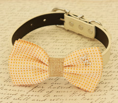 Dog Bow Tie collar,  Dog Birthday Gift, Pet Wedding accessory, Charm, Heart, Burlap, Golden haze, Dog Lovers, gift, Polka dots, Dog collar - LA Dog Store  - 1