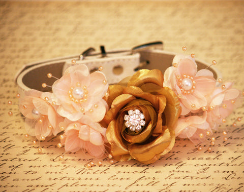 Gold peaches Floral Dog Collars-Pet Wedding Accessories, Gold and Peach wedding idea, Rhinestone and Pearls, Dog Lovers , Wedding dog collar