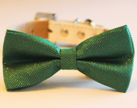 Emerald Green Dog Bow Tie attached to collar, Pet wedding
