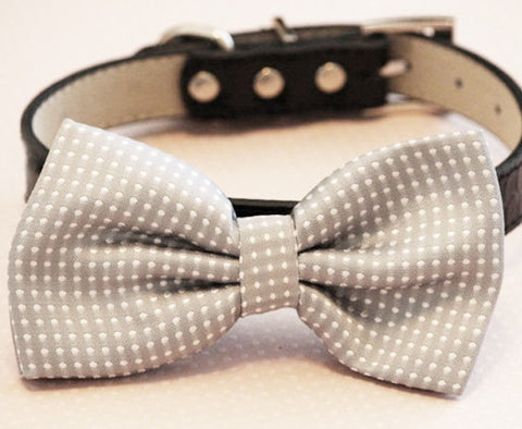Polka dots Gray Dog bow tie attached to collar, Handmad Pet wedding accessory