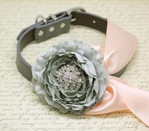 Gray Peonies and Blush Floral Dog Collar, Gray Pet Floral Wedding, Flower and Rhinestone