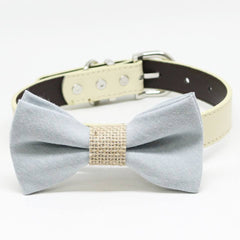 Gray Burlap Dog Bow Tie collar, pet wedding accessory, birthday, Puppy Gift , Wedding dog collar