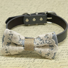 Gray with Lace and Burlap dog bow tie collar, Pet wedding accessory, Country Rustic , Wedding dog collar