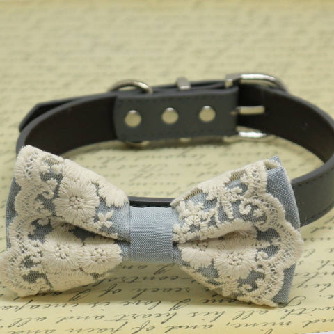 Gray Lace dog bow tie collar, Puppy Gift, Pet wedding accessory, Country Rustic