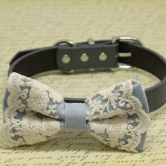Gray Lace dog bow tie collar, Puppy Gift, Pet wedding accessory, Country Rustic , Wedding dog collar