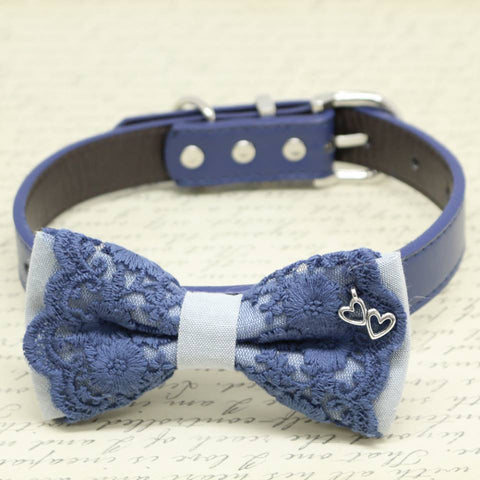 Gray and Navy Lace dog bow tie collar, Charm(Double Heart), Pet wedding, Puppy Love