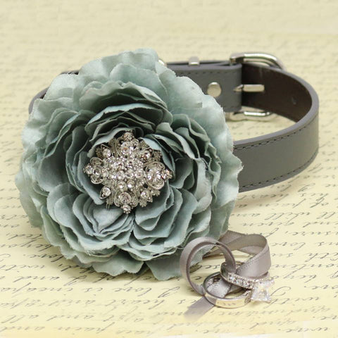Gray Flower Ring Bearer Dog Collar, Wedding Pet Accessory, Puppy Proposal, Beaded dogs collar