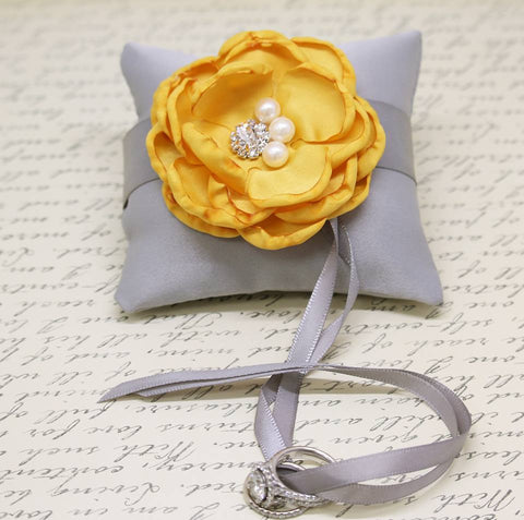Gray Yellow Ring Pillow attach to Dog Collar, Wedding Dog, Spring wedding , Wedding dog collar