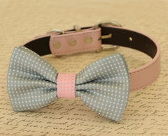 Gray dog bow tie, Bow attached to dog collar, Pet wedding accessory, dog birthday gift, Dog collar, Gray wedding accessory, Polka dots - LA Dog Store  - 1