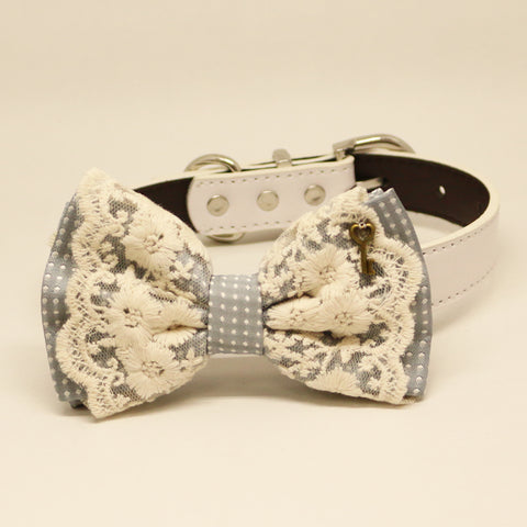 Gray Lace dog bow tie collar, Lace, charm, Key, Leather collar, Puppy Gift, Pet wedding accessory, Country Rustic wedding, Dog lover