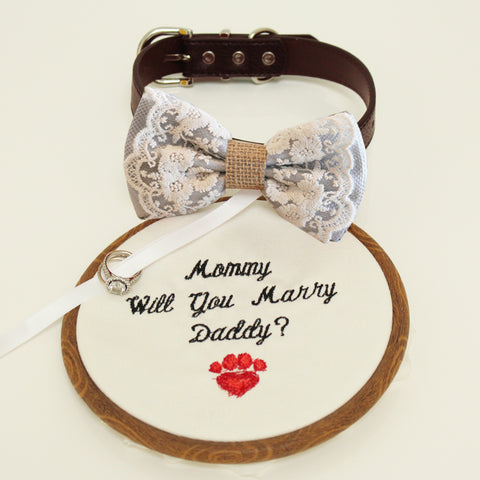 Gray lace Bow Tie dog collar, Bow and handmade Embroidery sign attached to leather dog collar, will you marry me, Marry me sign, dog ring bearer , Wedding dog collar