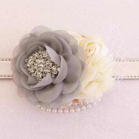 Gray Flower dog collar, Pearl beaded handmade flower collar, Dog of honor, proposal or every day use, S to XXL collar